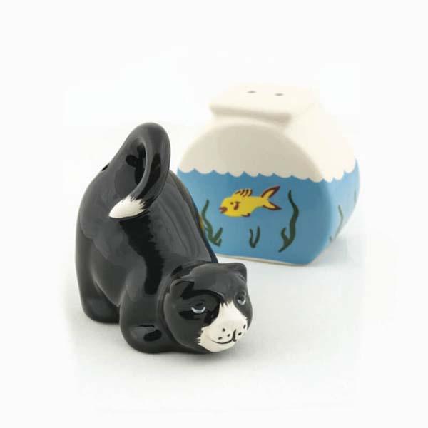 Salt & Pepper Cat & Fish Bowl