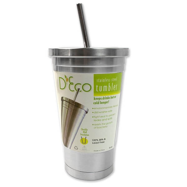 Covered Tumbler with Straw