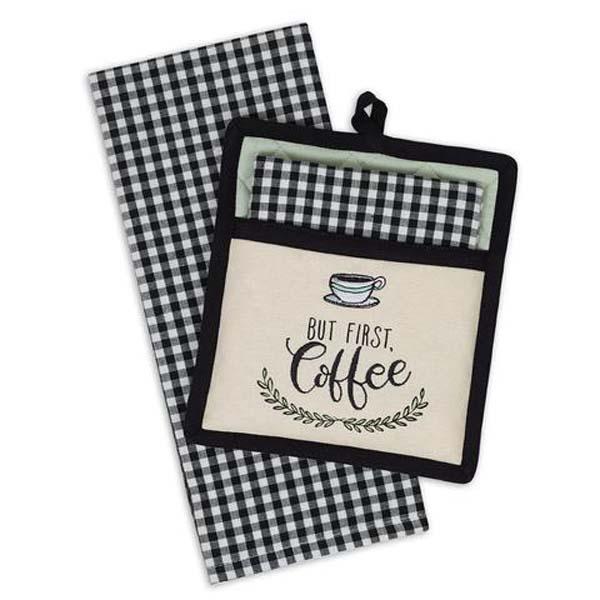 Coffee Time Potholder & Towel